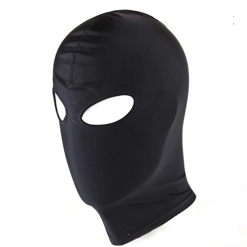 Schwarze Bondage BDSM Maske mit Augen Löcher