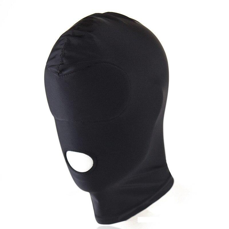 Schwarze Bondage BDSM Maske mit Mund Loch