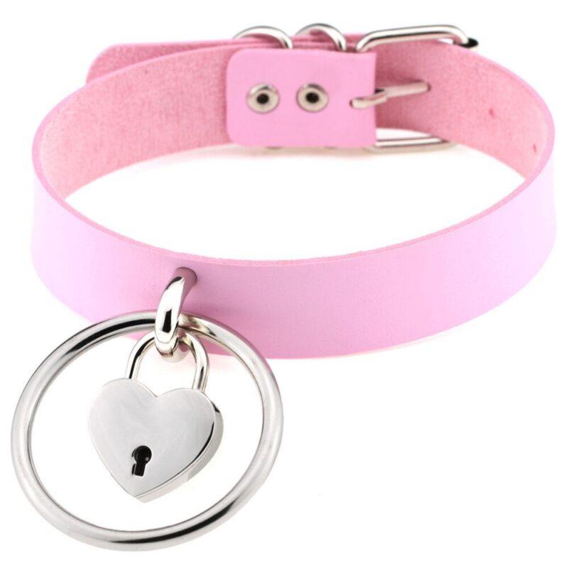 Pink Choker mit Herz Schloss